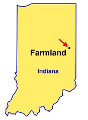 Farmland is in east central Indiana, east of Muncie and northwest of Richmond